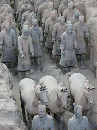 array: Terracotta warriors stand in battle array at Qin Terracotta Army Museum, Xian