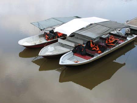 The boats on the Chini Lake, Pahang, Malaysia Stock Photo