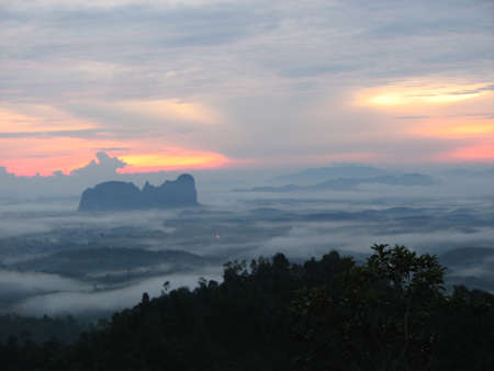 Panoramic View of Sunrise in Bukit Panorama, Sungai Lembing, Malaysia Stock Photo
