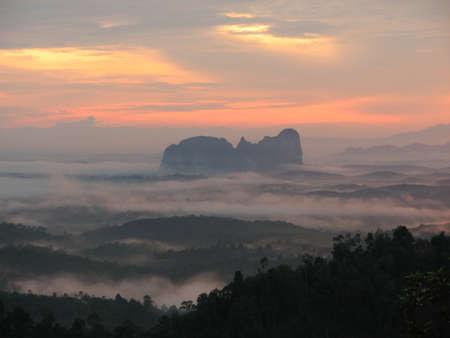 bukit: Panoramic View of Sunrise in Bukit Panorama, Sungai Lembing, Malaysia Stock Photo