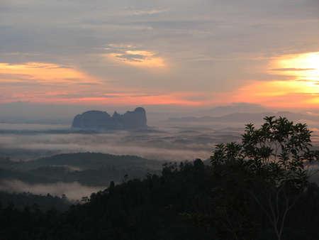 pahang: Panoramic View of Sunrise in Bukit Panorama, Sungai Lembing, Malaysia Stock Photo