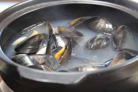 Korean mussel soup  Stock Photo