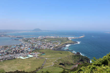 View of top Seongsan Ilchulbong, Jeju Island, South Korea