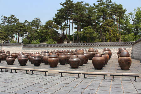 The jar storage area at Gyeongbokgung Palace  in Seoul, South Korea
