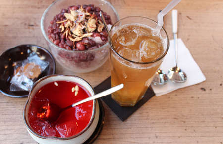 Yuzu tea, Omija cha and Korean shaved ice with red beans Stock Photo