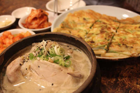 korean ginseng chicken soup and seafood pancake
