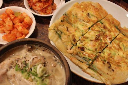 korean ginseng chicken soup and seafood pancake