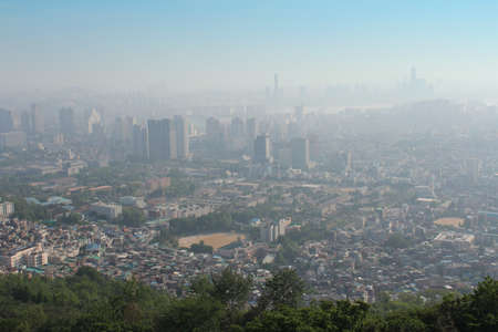 A bird s eye view of Seoul from the Namsan Park in Seoul, South Korea