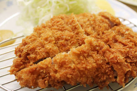 Fried pork chop at Myeongdong in Seoul, South Korea  Stock Photo