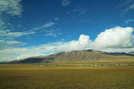 The scenery of Tibet from window of Qinghai Tibet Train (Lhasa Express), Tibet, China.