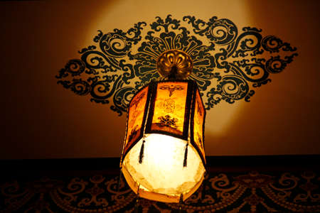 Tibetan lantern with the lamp hanging on the ceiling in Lhasa, Tibet, China