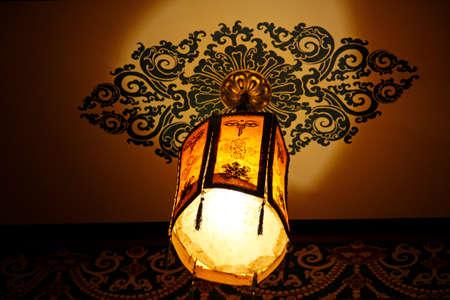 tibetan house: Tibetan lantern with the lamp hanging on the ceiling in Lhasa, Tibet, China