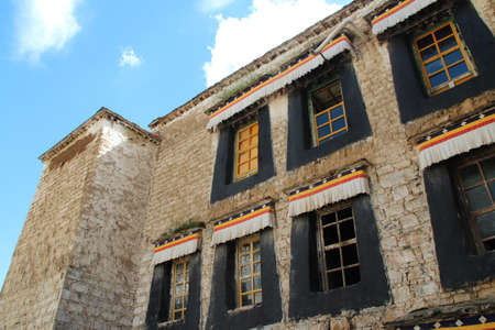 Wall with the windows in Sera Monastery at Lhasa, Tibet, China photo