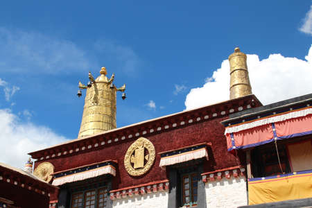 Golden bell on the top of roof at Sera Monastery in Lhasa, Tibet, China