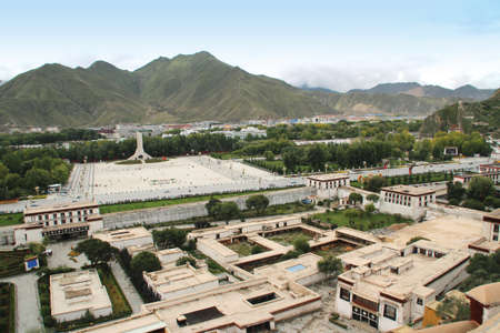 View of the Lhasa cityscape from Potala Palace in Tibet, China