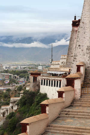 steps and staircases: View of the Lhasa cityscape from Potala Palace in Tibet, China