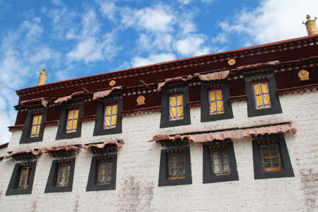 Building with the windows at Jokhang Temple in Lhasa, Tibet, China photo
