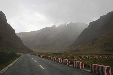 Road running through mountains in foggy day, Tibet, China Stock Photo