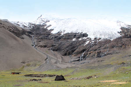 nomadic: The white Karola glacier with the Tibetan nomadic tent in Tibet, China Stock Photo