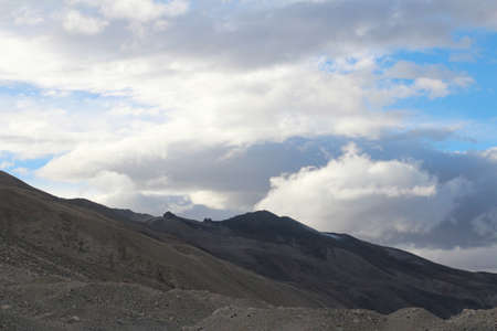View of mountains with the clouds from Everest Base Camp, Tibet. Stock Photo