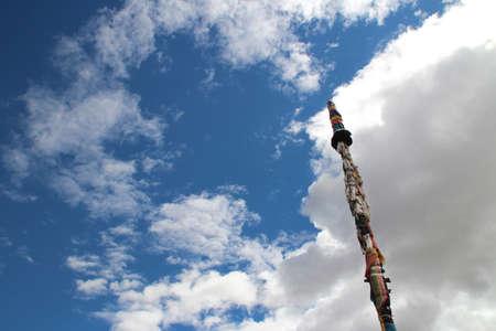 Prayer flags around a column at Shalu Monastery, Shigatse, Tibet