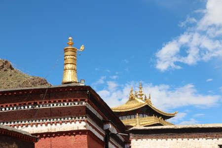 Tibetan building with roof in the Tashilhunpo monastery, Shigatse, Tibet