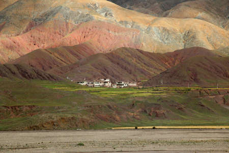 Tibetan Village among the mountains, Tibet, China