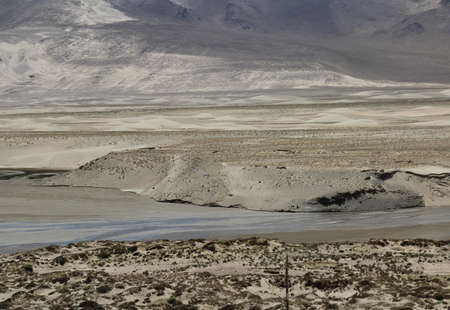 View of the mountains with sand dune near Tingri, Tibet, China photo