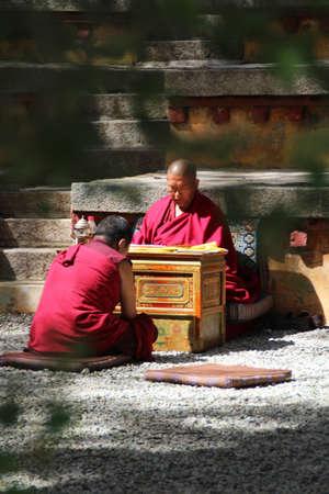 debating: Monks Debating in Sera Monastry, Lhasa, Tibet Editorial