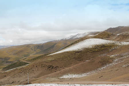 View of mountains with the snow on peak in Tibet, China