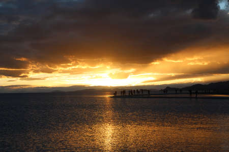 View of the sunset at Namtso lake with dramatic sky, Tibet, China Stock Photo