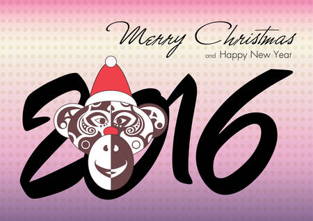 red nose: Merry Christmas and Happy New Year 2016 with the Monkey in hat and red nose