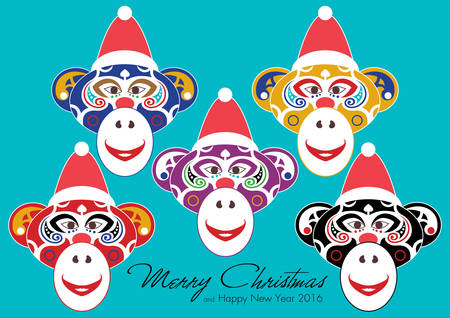 red nose: Merry Christmas and Happy New Year 2016 with five different colour theme of Monkey in hat and red nose