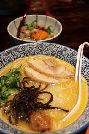 Japanese Ramen with sliced chicken, green onion, meat ball and black fungus at the restaurant in Kyoto, Japan Stock Photo