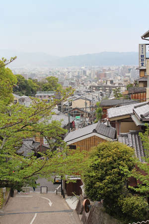 View of Kyoto city from the Mt. Otowa which is near the Kiyomizu-dera in a cloudy day Editorial