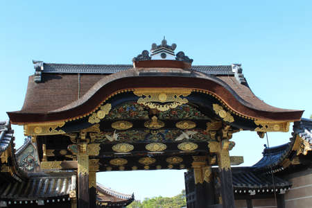 The karamon main gate to Ninomaru Palace is gilded with gold at Nijo Castle in Kyoto, Japan Editorial