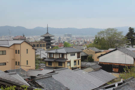 View of Kyoto city in cloudy day near the Kiyomizu-dera, Japan