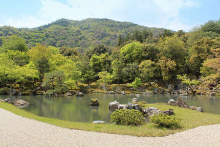 The Sogen Pond at the garden of Tenryu-ji, designated as a special place of scenic beauty in Kyoto, Japan