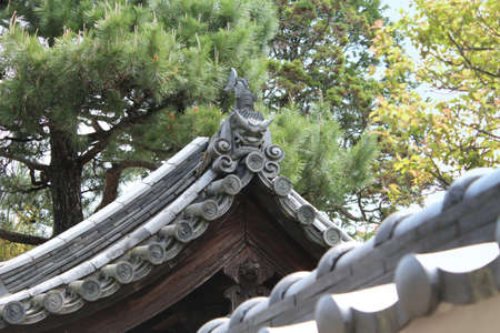 Japanese roof tiles called onigawara on the residence house in Nara, Japan