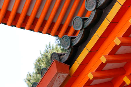 Traditional Japanese roof tiles of Heian Shrine in Kyoto