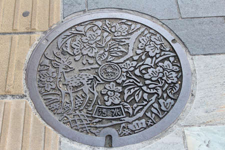 Artistic manhole cover with the deer and flowers carvings at Nara, Japan