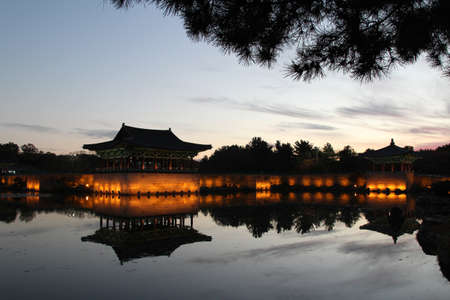 Night view of Donggung Palace and Wolji Pond with the light and reflection in Gyeongju, South Korea