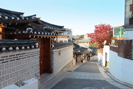 Bukchon Hanok Village with the traditional Korean architecture houses in autumn, Seoul, South Korea