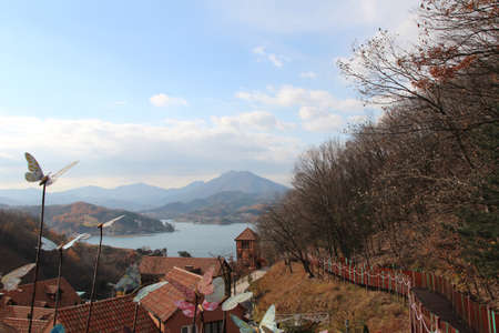 Landscape of Gapyeong in autumn with the mountain and sea, South Korea