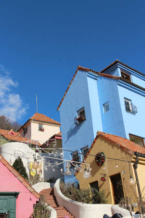 Colourful buildings of Petite France, a replica French town built in Gapyeong, South Korea