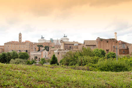 View of the Roman Forum in Rome during cloudy day, Italy