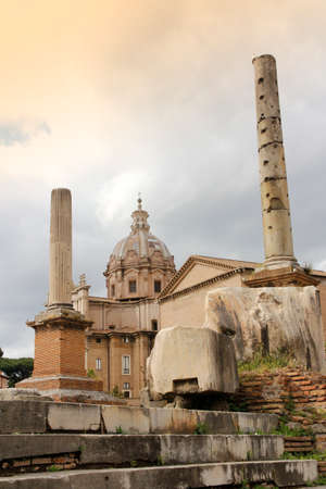 View of the ruins in Roman Forum, Rome, Italy