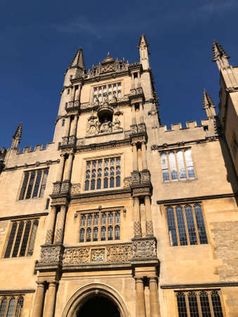 Bodleian Library Tower of the Five Orders in Oxford with the blue clear sky, London Stock Photo