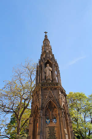 The Martyrs' Memorial is a Victorian Gothic monument to memorializing 3 Oxford martyrs of the 16th century in a sunny day