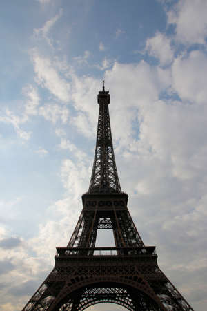 An Eiffel Tower view in cloudy day during sunset, Paris, France Imagens